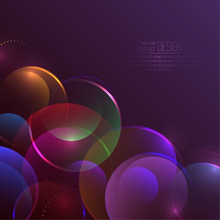 Abstract background from multicolored circles. Purple-based dynamic balls. Luminous transparent spheres with points and lines. Walling.Vector illustration.
