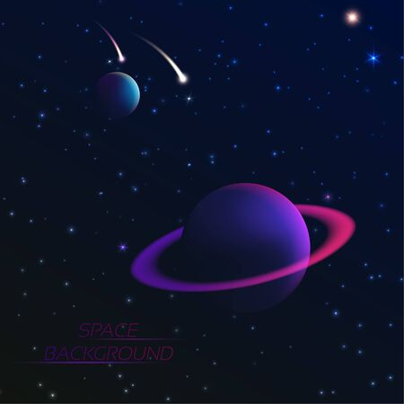 Space concept. Planets and falling meteorites in the star sky. Dark abyss. Vector 3Д illustration.