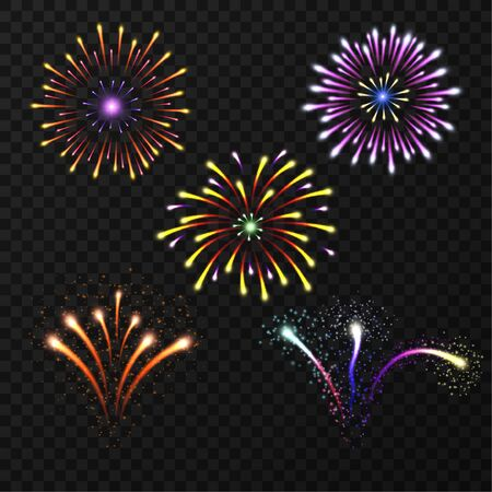 Multicolored feerver elements. Bright flashes. Set of glowing lights. Festive salute. Vector isolated objects for design.