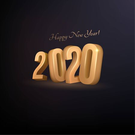 Happy New Year 2020. Abstract holiday background with golden text and shadow on dark isolated phone.3D. Bright vector illustration for maps, invitations, posters, banners, calendars, holiday decorations. Illusztráció
