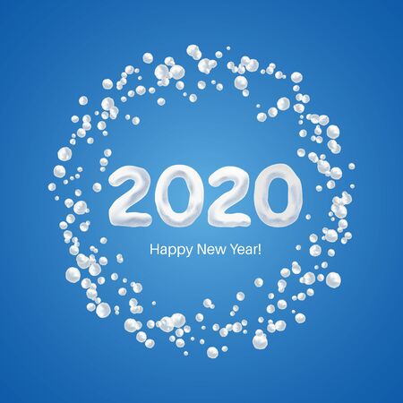 Happy New Year 2020. Stylized figures from snow in a frame from snowballs. Christmas design. Vector illustration. Ilustracja