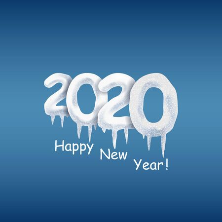 Happy New Year 2020.Snow numbers with icicles. Elements for design. Christmas vector illustration.