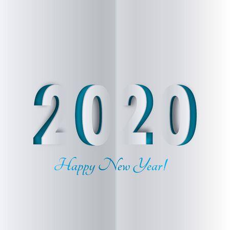 Happy New Year 2020.Paper ornament. Christmas template for design. Postcard for invitations. Vector illustration. Illusztráció