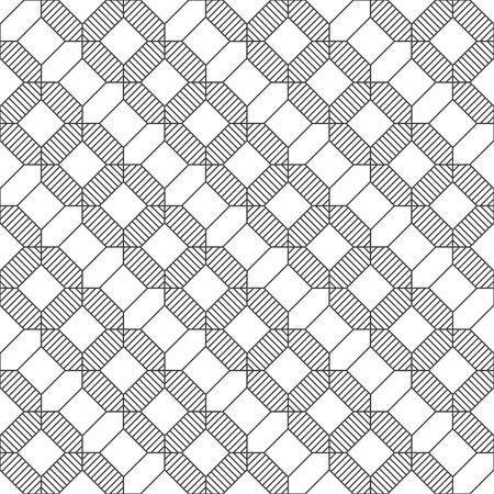 Seamless pattern. Modern stylish texture. Regularly repeating geometrical linear ornament with striped hexagons, rhombuses, octagons. Vector element of graphical design