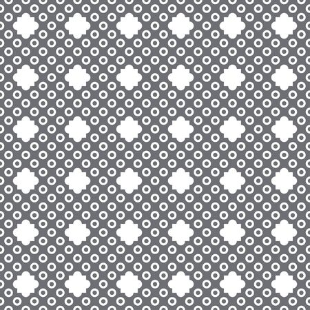 Seamless pattern. Infinitely repeating geometrical ornament consisting of dots, circles, rhombuses. Modern stylish texture. Abstract small dotted background. Vector element of graphical design