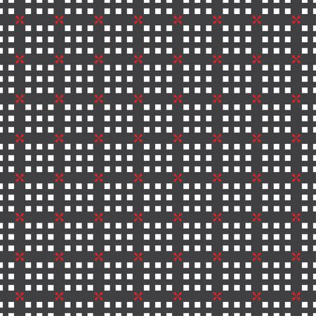 Seamless pattern. Repeating modern geometrical texture consisting of crosses, squares. Vector element of graphical design Illusztráció