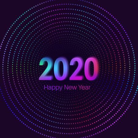 Happy New Year 2020.Bright neon numbers against the background of a multicolored spiral. Glowing holiday concept. Template for design. Vector illustration.