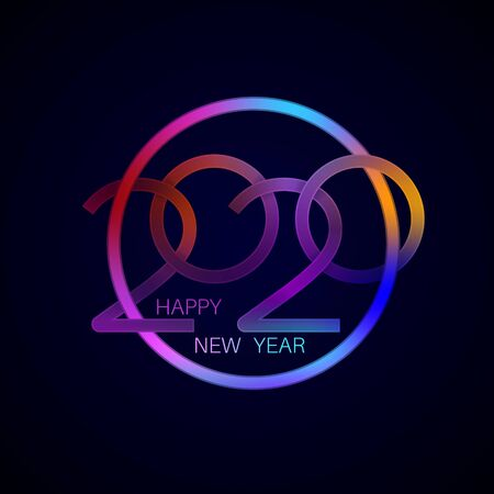 Happy New Year 2020.Bright neon numbers in the circle.Glowing holiday concept. Template for design. Vector illustration.