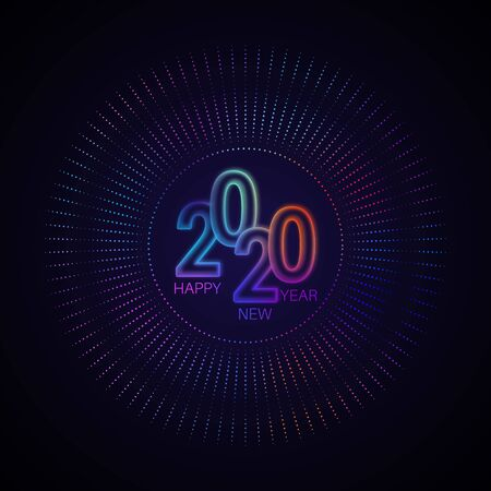 Happy New Year 2020.Bright glowing numbers with rays from dots. Round neon banner.Template for design. Vector illustration.