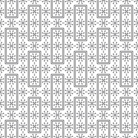 Seamless pattern. Modern elegant texture. Regularly repeating rectangle shapes, small rhombuses, triangles, crosses. Vector element of graphical design