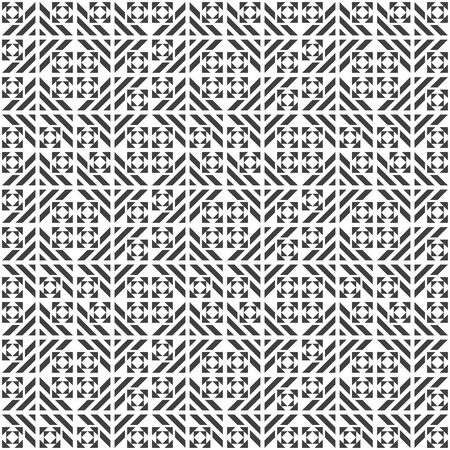 Seamless pattern. Modern geometrical texture. Regularly repeating rectangle shapes, striped triangles, squares, rhombuses. Abstract textured background. Vector element of graphical design Illusztráció