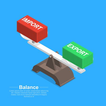 The balance of imports and exports.Trade equilibrium.Business concept.The ratio of turnover.3D.Isometry.Vector isolated illustration.