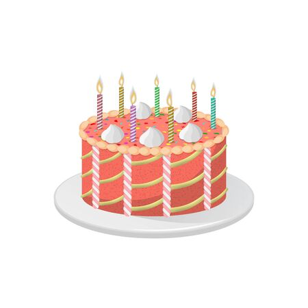Festive anniversary cake with burning candles.Birthday present.3D. Isometry. An element for design. Vector illustration in a flat style.