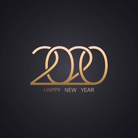 Happy New Year 2020.Golden stylized numbers against a dark background.Vector illustration for maps, invitations, posters, banners, calendars, holiday decorations. Illusztráció