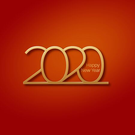 Happy New Year 2020.Golden stylized numbers on a red isolated background.Vector illustration for maps, invitations, posters, banners, calendars, holiday decorations.