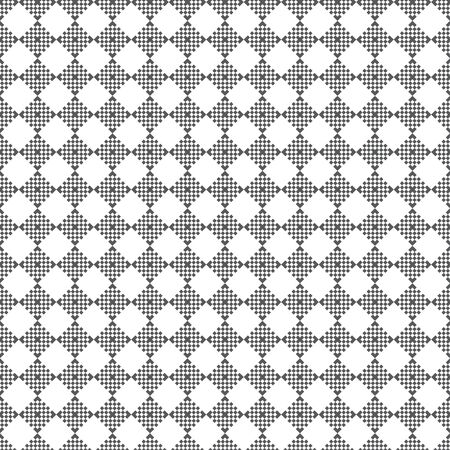 Vector seamless pattern. Modern stylish texture. Regularly repeating geometrical ornament with small rhombuses, crosses, corners. Classical abstract textured background.