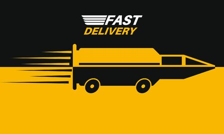 Fast delivery.A stylized car in the form of a flying bullet.Poster. Element for billboard. Vector illustration in a flat style.