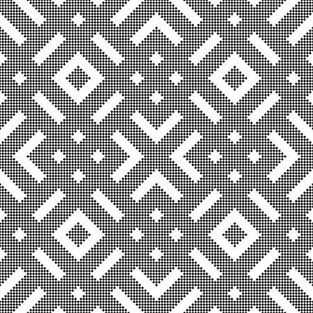 Vector seamless pattern. Infinitely repeating simple elegant texture consisting of small rhombuses which form geometrical shapes: corners, strips. Modern textured background. Illusztráció