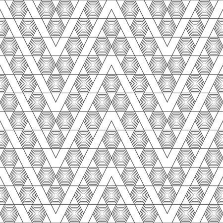 Seamless pattern. Modern elegant geometrical texture. Regularly repeating zigzag shapes with striped hexagons, triangles. Outline. Contour. Thin line. Vector element of graphical design Illusztráció