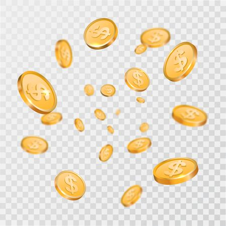 Falling gold coins on a transparent isolated background. Flying dollars. 3D elements.Money explosion.Elements for design.Vector illustration. Illusztráció