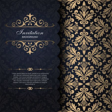 Vintage gold frame in Baroque style. Decorative ancient ornament. The card for invitations. A flower shape for the text. Vector illustrations. Design elements. Illusztráció