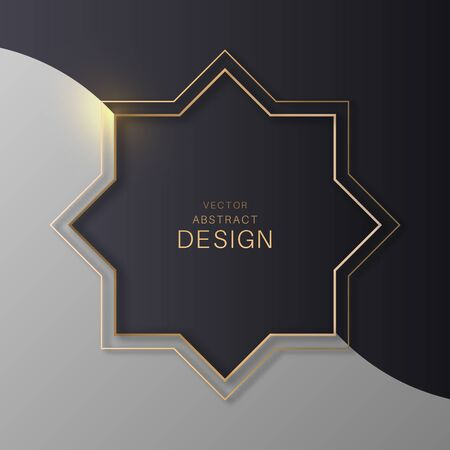 Geometrical golden frame. Brilliant polygon. Template for design. Abstract modern background. Vector illustration.