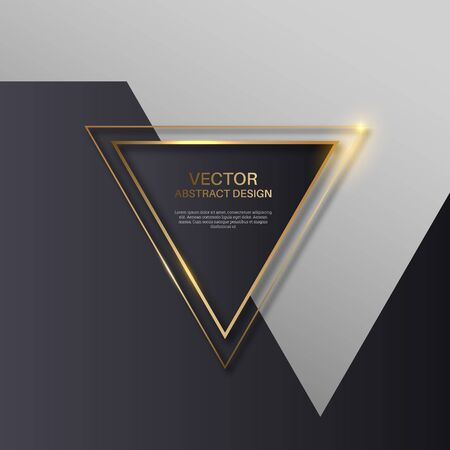 Triangular golden frame. Brilliant geometrical form. Template for design. Abstract modern background. Vector illustration. Ilustração