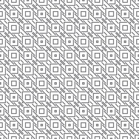 Seamless pattern. Modern stylish texture. Regularly repeating geometrical ornament with diagonal thin lines, crossed squares, small triangles. Vector element of graphical design Illusztráció