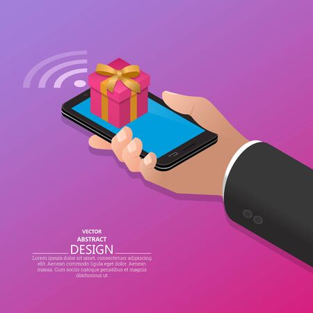A hand in a suit holds a smartphone with a gift on the screen.Concept of online gifts on the phone.3D. Isometry.Vector illustration.