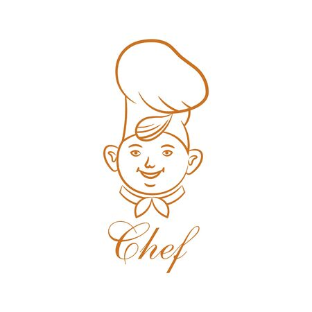 The chef in cookery.Sketch. Cheerful face of the cook.Element for design.The isolated vector illustration.
