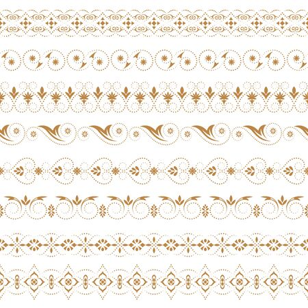 A vector set of art dividers in east style. Borders for the text, invitation cards, various printing editions. Golden seamless elements of design.