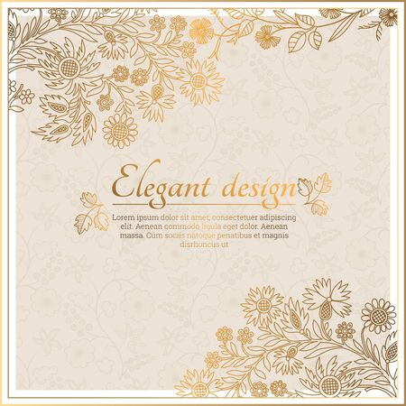 Baroque ornate frame with place for text. Stylish invitation card. Elegant greeting card. Vector element of graphic design Ilustração
