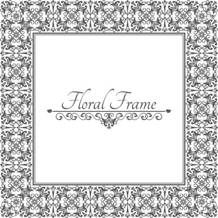 Vintage frame in Baroque style.Decorative ancient ornament.Divider for the text. Vector illustration. Design elements.