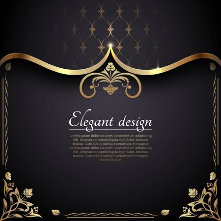 Vintage gold frame in Baroque style. Decorative ancient ornament. The card for invitations. A flower shape for the text. Vector illustrations. Design elements. Ilustração