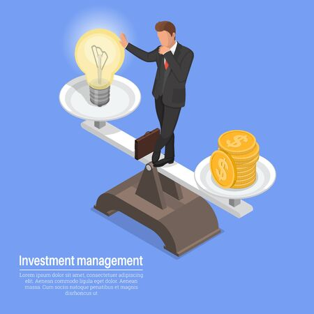 Management of investments.A businessman balancing between idea and finance.Business concept.3D. Isometry. Vector illustration.