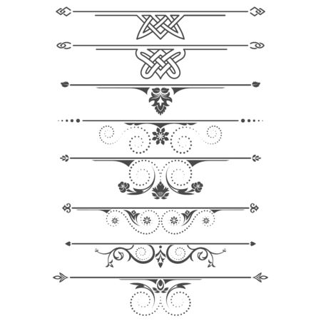 Set of calligraphical elements of design and execution of the page.Selects text in a vintage, floral style. Typographical dividers, jewelry for books.Vector illustration.