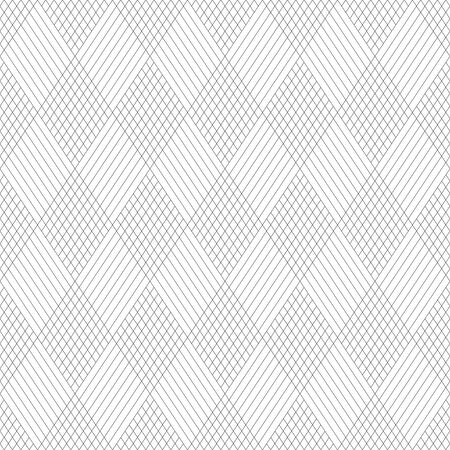 Seamless pattern. Stylish abstract geometric background. Modern linear texture with thin lines. Regularly repeating geometrical tiled grid with striped rhombuses, diamonds. Vector trendy design