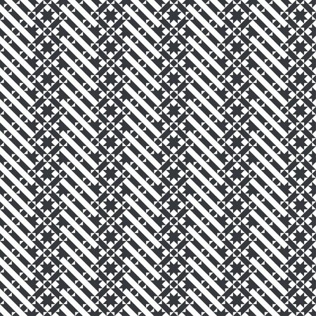 Vector seamless pattern. Repeating modern geometrical texture consisting of diagonal strips, small triangles, stars, rhombuses. 일러스트