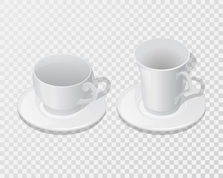 Set of ceramic dishes for drinks.Cups with saucer on a transparent isolated background.Мock-up.Template for design.3Д .Isometry.Vector illustration.