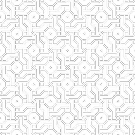 Seamless pattern. Stylish geometric texture. Modern linear ornament. Regularly repeating thin line grids with intersecting geometrical outline shapes: squres; difficult polygonal shapes