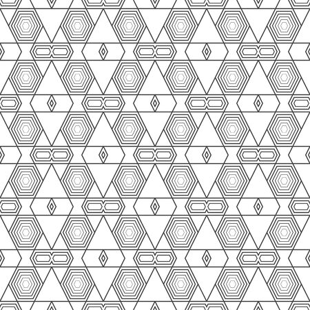 Seamless pattern. Modern stylish geometrical texture. Regularly repeating linear rhombuses, hexagons, triangles. Thin line. Vector element of graphical design 일러스트