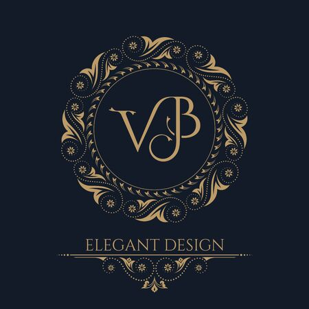 The monogram from the intertwining letters VB in an elegant flower frame. Baroque style. The place for the text. A golden template for cafe, bars, boutiques, invitations. A logo for business. Vintage elements of design. Vector illustration. 일러스트