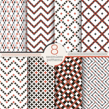 Set of vector seamless patterns. Modern stylish textures. Regularly repeating geometrical ornaments with small rhombuses, triangles, corners, diamonds, zigzags, waves.