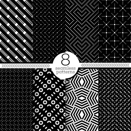 Set of vector seamless patterns. Modern stylish textures. Regularly repeating geometrical ornaments with small rhombuses, thin lines, dots, crosses, corners, circles.