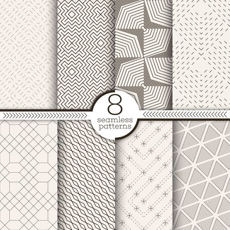 Set of seamless patterns. Modern stylish textures. Regularly repeating geometrical ornaments with thin lines, dots, zigzags, rectangles, dashed tiles. Vector element of graphical design Illustration