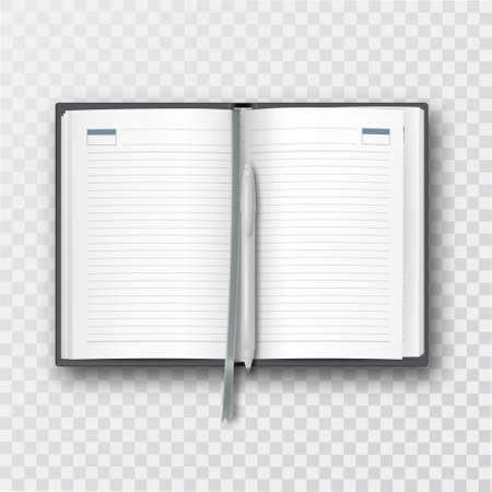 Opened notebook with bookmark and fountain pen. Office supplies on a transparent isolated background. The blank ruled pages. The model for design. Mock-up.Template with blank sheets. 3 realistic vector illustration with shadow.