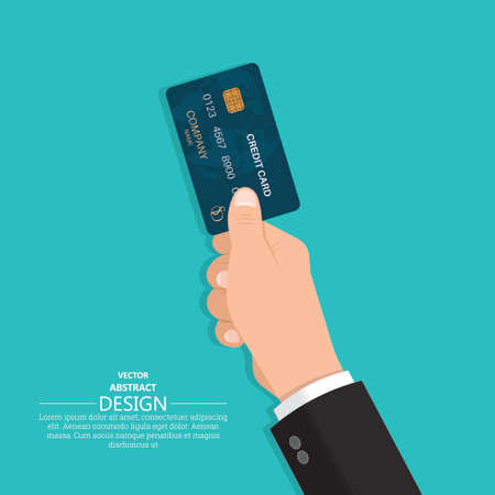 Hand in a suit holds a credit card. Business concept. Cashless payments. Vector illustration in a flat style.