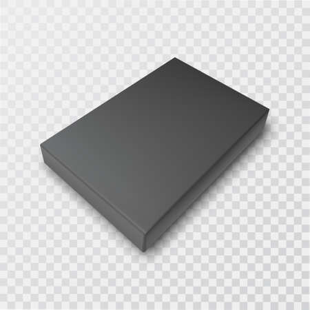 A closed black gift box on an isolated transparent background.3D.Template for design.Realistic vector illustration.
