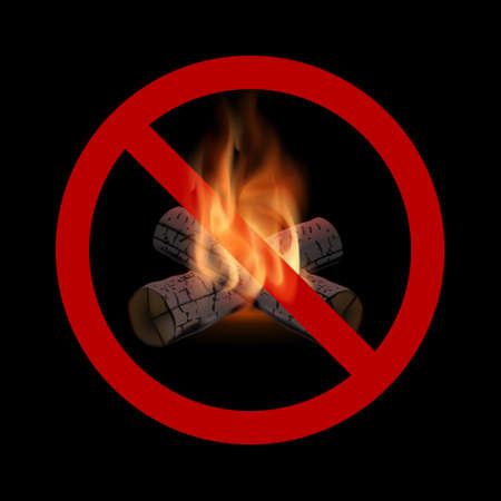 Sign of prohibition of fire incitement.Warning about the opacity of actions.Stop flame.The forbidding poster.Vector illustration on a black background.