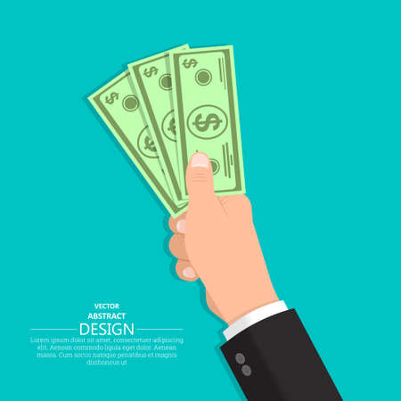 Hand in a suit holds dollar bills. Business concept. Cash payment. Vector illustration in a flat style.